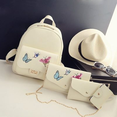 Set Rucsac 4 in 1 Papillon Bej